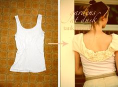 Sewing tutorial to embellish a tank top with a ruffle yoke, flutter cap sleeves, and some cloth cabbage roses, by Ruffles And Stuff