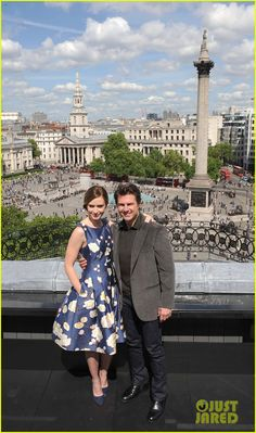Tom Cruise wraps his arm around co-star Emily Blunt as they step out to pose for some pics at the photo call for their new film The Edge Of Tomorrow held at The Trafalgar Hotel on Sunday (May 25) in London, England.
