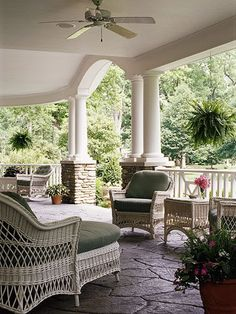 Hanging greens, cozy chair Outdoor Rooms, Outdoor Living, Outdoor Decor, Outdoor Patios, Outdoor Kitchens, Wicker Furniture, Outdoor Furniture Sets, Wicker Dresser, Wicker Couch