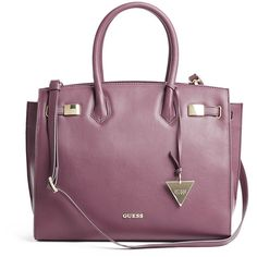 GUESS Grace Luxe Leather Satchel (18.450 RUB) ❤ liked on Polyvore featuring bags, handbags, merlot, guess handbags, top handle satchel handbags, leather purse, satchel purse and satchel handbags