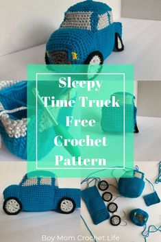 Looking for a FREE Crochet Truck Pattern for a soft, cuddly pickup truck for little ones? The Sleepy Time Truck is for you! It's perfect for kids and babies that like to play while they sleep! Crochet Animal Patterns, Crochet Doll Pattern, Stuffed Animal Patterns, Crochet Patterns Amigurumi, Crochet Ideas, Hat Patterns, Crochet Projects, Stuffed Animals, Crochet Car