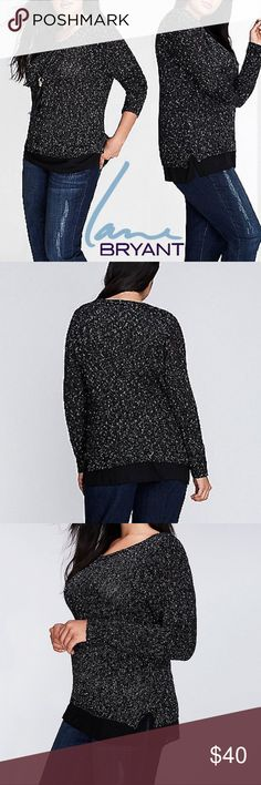 NWT Chiffon Hem Sweater The chiffon hem gives this textured sweater a layered look. Scoop neck. Black with white speckled fabric for a dressy look! Size is 26/28 Lane Bryant Sweaters Crew & Scoop Necks
