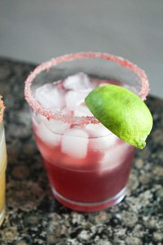 Chambord Margarita: 2 ozs tequila - 3 ozs Chambord - Juice from one lime - Splash of triple sec.