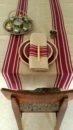 Purple Stripe linen Tablecloth rectangle $60 matching napkins x 6 $45