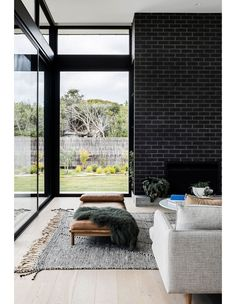 Zinc Cladding, Brick Feature Wall, Steel Frame Doors, Mim Design, Roof Design, House Design, Wood Staircase, Outdoor Seating Areas, House Entrance