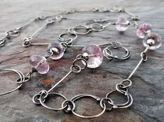 Loops and Bars Amethyst Necklace || hand forged chain with gemstones || metalsmith jewelry (5604) Metalsmith Jewelry, Amethyst Necklace, Lost, Hands, Gemstones, Sterling Silver, Chain, Bracelets, Bangle Bracelets