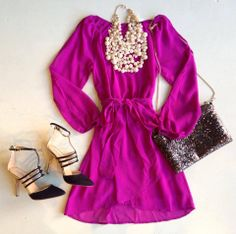 Fuchsia Holiday Dress #pearls #swoonboutique