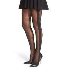 Chelsea28 Dot & Scallop Pantyhose (€16) ❤ liked on Polyvore featuring intimates, hosiery, tights, black, nylon stockings, black pantyhose, pantyhose tights, black polka dot pantyhose e sheer dot tights