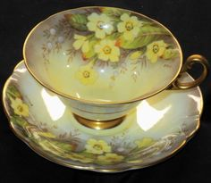 EB Foley Yellow Cream Laburnum Signed Wide Gold Footed tea cup and Saucer Antique Tea Cups, Vintage Cups, Vintage Tea, Vintage China, Yellow Cream, Mellow Yellow, Teapots And Cups, Teacups, Cuppa Tea