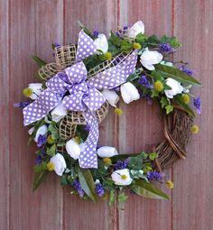 Easter Wreath Spring Wreath Tulip Wreath by HilltopRustics on Etsy