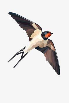 Geometric illustration Swallow Bird print by tinykiwiprints Bird Illustration, Illustrations, Swallow Bird Tattoos, Tattoo Bird, Fotografia Tutorial, Geometric Bird, Vogel Tattoo, Polygon Art, Geniale Tattoos