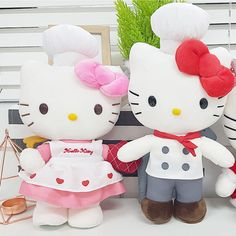 Hello Kitty Chef Stuffed Doll Cook Cute Gift Soft Plush Girls Interior Toy Pink