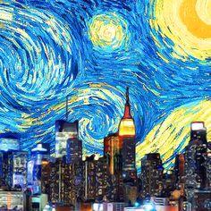 New York Starry Night Canvas Set Wall Murals, Wall Art Decor, Cityscape Art, Unique Wall Art, City Art, Room Themes, Cityscapes, Vincent Van Gogh, Centerpiece