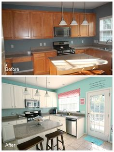 $600 Total Kitchen Makeover » Nicole Faby Photography DIY backsplash DIY painted cabinets