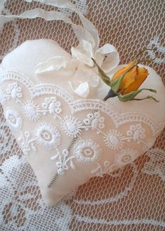 Shabby Chic Fabric Lace Pocket Heart Ornament by ShabbySoul