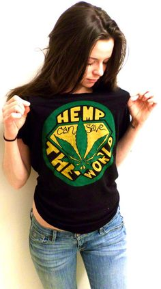 Hemp can Save the World t-shirt. Over 50,000 products including biodiesel fuel for cars can be made from hemp. A sustainable oxygen producing plant, hemp can grow in most global climates. Check out our new shirt made from 60% hemp and 40%. 10% OF THE PROFITS ARE DONATED TO VOTE HEMP!!