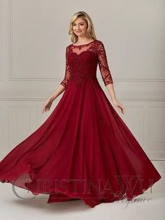 Lace Bodice, Lace Sleeves, Lace Dress, Fitted Bodice, Long Sleeve Evening Dresses, Long Evening Gowns, Christina Wu, Mother Of The Bride Gown, Scoop Neck Dress
