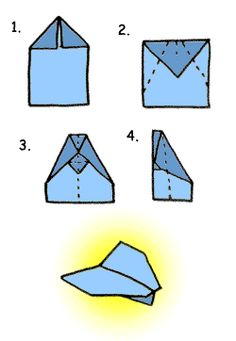 How to fold a paper airplane! An invitation could be folded this way, but also have this as an activity station at the party!