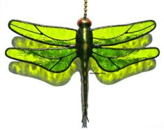 Stained Glass Dragonfly FAN PULL Suncatcher - Spring / Lime Green, Floral Pressed Glass, Transparent- USA Handmade
