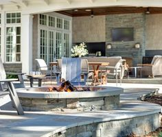 Backyard with large stone patio with fire pit, outdoor fireplace and outdoor kitchen. Patio stone and built in fire pit are made of natural Bluestone. Backyard Layout, Backyard Patio, Backyard Ideas, Patio Ideas, Firepit Ideas, Wedding Backyard, Pergola Patio, Diy Patio, Pergola Ideas