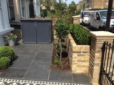 raised bed front garden wall london bin store topiary bay trees buxus raised bed front garden wall london bin store topiary bay trees buxus The post raised bed front garden wall london bin store topiary bay trees buxus appeared first on Garden Easy. Front Garden Path, Front Path, Garden Paths, Victorian Front Garden, Victorian Terrace, Small Front Gardens, Back Gardens, Small Front Garden Ideas Uk, Terrace Garden