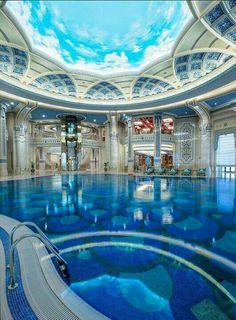 Indoor Pool at the Marvelous The Ritz-Carlton Riyadh, Saudi Arabia Luxury Swimming Pools, Luxury Pools, Dream Pools, Swimming Pool Designs, Indoor Pools, Lap Pools, Backyard Pools, Pool Decks, Pool Landscaping