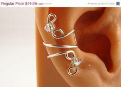Sterling Ear Cuff Wrap Swarovski AB Crystal Rondelles Wedding Earrings