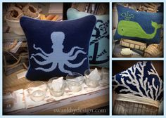 Nautical themed hooked and needlepoint pillows | swankbydesign.com #swankbydesign #nautical #pillows #octopus #whale #coral