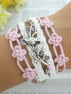 USA Seller bracelet vegan Beautiful Chinese Knot Braclet Silver Love Birds bracelet womans multilayer bracelets USA Seller Item #BST-247