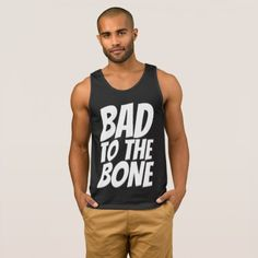 Vintage Men's T-shirts BAD TO THE BONE Tank Top - black gifts unique cool diy customize personalize