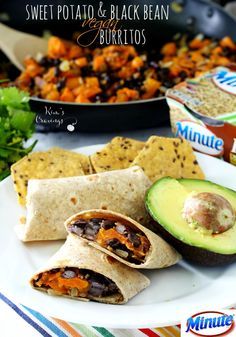Sweet Potato and Black Bean Vegan Burritos- get ready for a flavor explosion with these yummy healthy burritos!