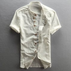 Men's Cotton Linen Casual Slim Shirts Short Sleeve Stand Collar Asian Size T - Mens Shirts Casual - Ideas of Mens Shirts Casual - Men's Cotton Linen Casual Slim Shirts Short Sleeve Stand Collar Asian Size Half Sleeve Shirts, Half Shirts, Shirt Sleeves, Cotton Shirts For Men, Casual Shirts For Men, Indian Men Fashion, Mens Fashion, Mens Clothing Styles, Men's Clothing