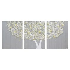 Yellow and Gray Canvas Art Painting of Tree Textured Wall
