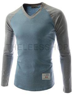 (TVS51-AQUAMARINEGRAY) Unisex Slim Fit Casual V-neck Long Sleeve Contrast Raglan Tshirts