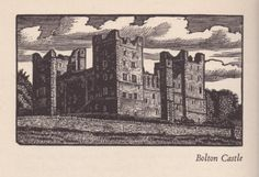 The Sylver Zone is pleased to offer:    Bolton Castle (Wensleydale)    A vintage wood engraving print circa 1936. Unmounted Image size approx 4 by