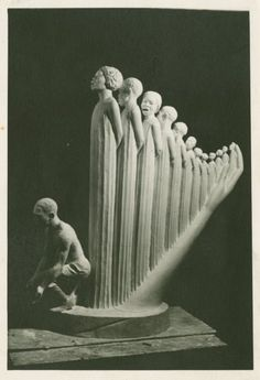 "Harp by Augusta Savage (Harlem Renaissance) In 1939, She was commissioned to create a sculpture for the New York World's Fair. Titled The Harp, the work was strongly influenced by James Weldon Johnson's 1900 song, ""Lift Every Voice and Sing."""