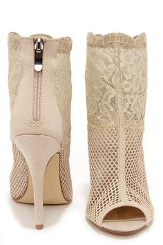 Sexy Nude Booties - Mesh Booties - Lace Booties - $89.00