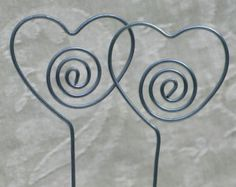 Heart Table Number, Photo or Card Holder, Plant Picks, Set of 10 in Steel Wire, Wedding, Anniversary, Valentine