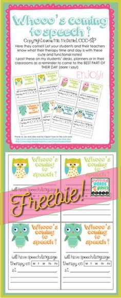 Let your students and their teachers and parents know when they'll be going to speech or language therapy with these cute FREE notes!