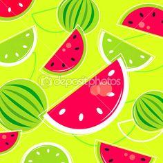 Свежий летний дыни ретро-фон / узор - розовый и зеленый — стоковая иллюстрация #6039594