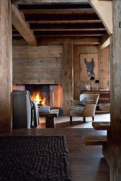 Chalet from Megeve, Alps / France Grand Chalet, Chalet Interior, Interior Design, Modern Interior, Cabins And Cottages, Cabins In The Woods, Rustic Interiors, Log Homes, Cabana
