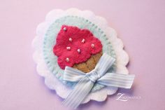 Pink Felt Cupcake Cameo Brooch