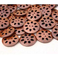 Botón de madera flor troquelada 23mm