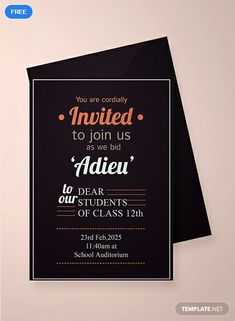15 Beautiful Farewell Invitation Card Template Photos - If you end up planning to carry a celebration like wedding, anniversary, birthday, and other Housewarming Invitation Wording, Birthday Party Invitation Wording, Custom Party Invitations, Photo Invitations, Farewell Invitation Card, Free Invitation Cards, Free Printable Invitations Templates, Invitation Ideas, Card Templates