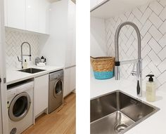 Divine Renovations Laundry Tile Ideas #Bec #Marks #The #Spot #Design #Subway #Tiles Laundry Powder, Splashback Tiles, Subway Tiles, Reno, Tile Ideas, Mudroom, Interior Inspiration, Kitchens, Home Appliances