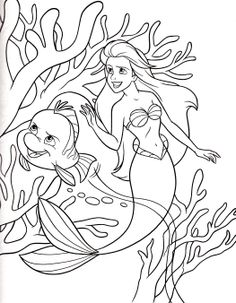 Princess Ariel And Small Fish Coloring Pages