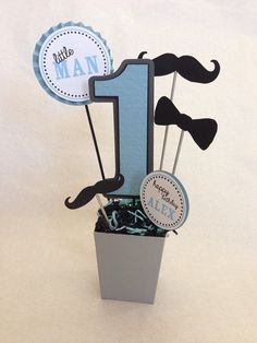 Little Man Mustache Birthday Party Centerpiece Decoration Mustache Birthday, Baby 1st Birthday, Birthday Bash, First Birthday Parties, First Birthdays, Mustache Party, Mustache Theme, Mustache Centerpieces, Birthday Party Centerpieces