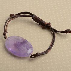 amethyst bracelet purple gemstone bracelet leather wrap by izuly, $29.00