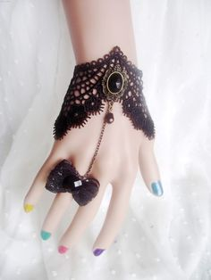 Gothic Wedding Rings | gothic jewelry dark queen jewellry black crystal bangles bowknot with ...