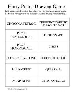 Challenging words for Harry Potter Pictionary Good to play at a party -- just print and cut printable games J K Rowling Hogwarts drawing game with books